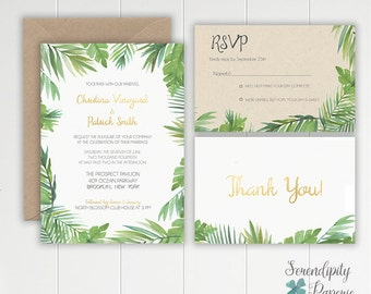 Tropical Watercolor Palm Leaf  Wedding Invitation Stationery Set Printable