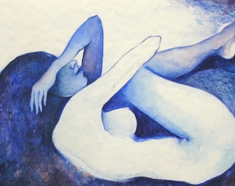 Print woman blue-female nude water ether watercolor soul