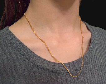 gold tone necklace chunky necklace 48 inch necklace lightweight necklace Vintage Gold Tone Chain Necklace