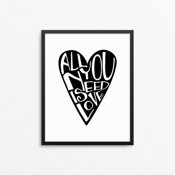 Home Art Wall Decor All You Need Is Love Typography Art | Etsy