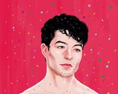 Ezra Miller under a rain of confetti (signed prints) © Iván García.