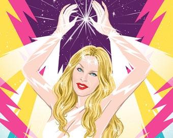 Interdimensional Kylie Minogue giving us some starlight (signed prints) © Iván García.