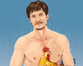 Pedro Pascal teleporting with a mystical chicken (signed prints) © Iván García.