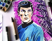 Carl Sagan reach the Stars -  Leonard Nimoy as Mr Spock (+ FREE PAPERDOLL) © Iván García  (Limited edition prints, signed and numbered)