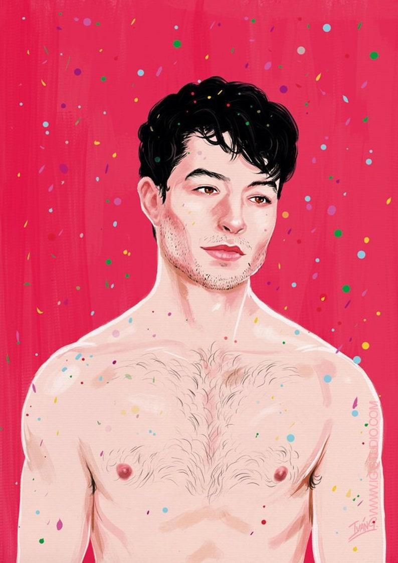 Ezra Miller under a rain of confetti signed prints © Iván image 0
