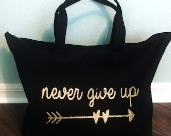Never Give Up tote in black