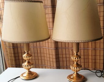 Sciolari Table Lamp Pair Solid Brass Signed Made In Italy 1960s