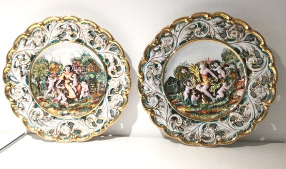 Capodimonte piatti decorativi ceramica vintage signed made in etsy