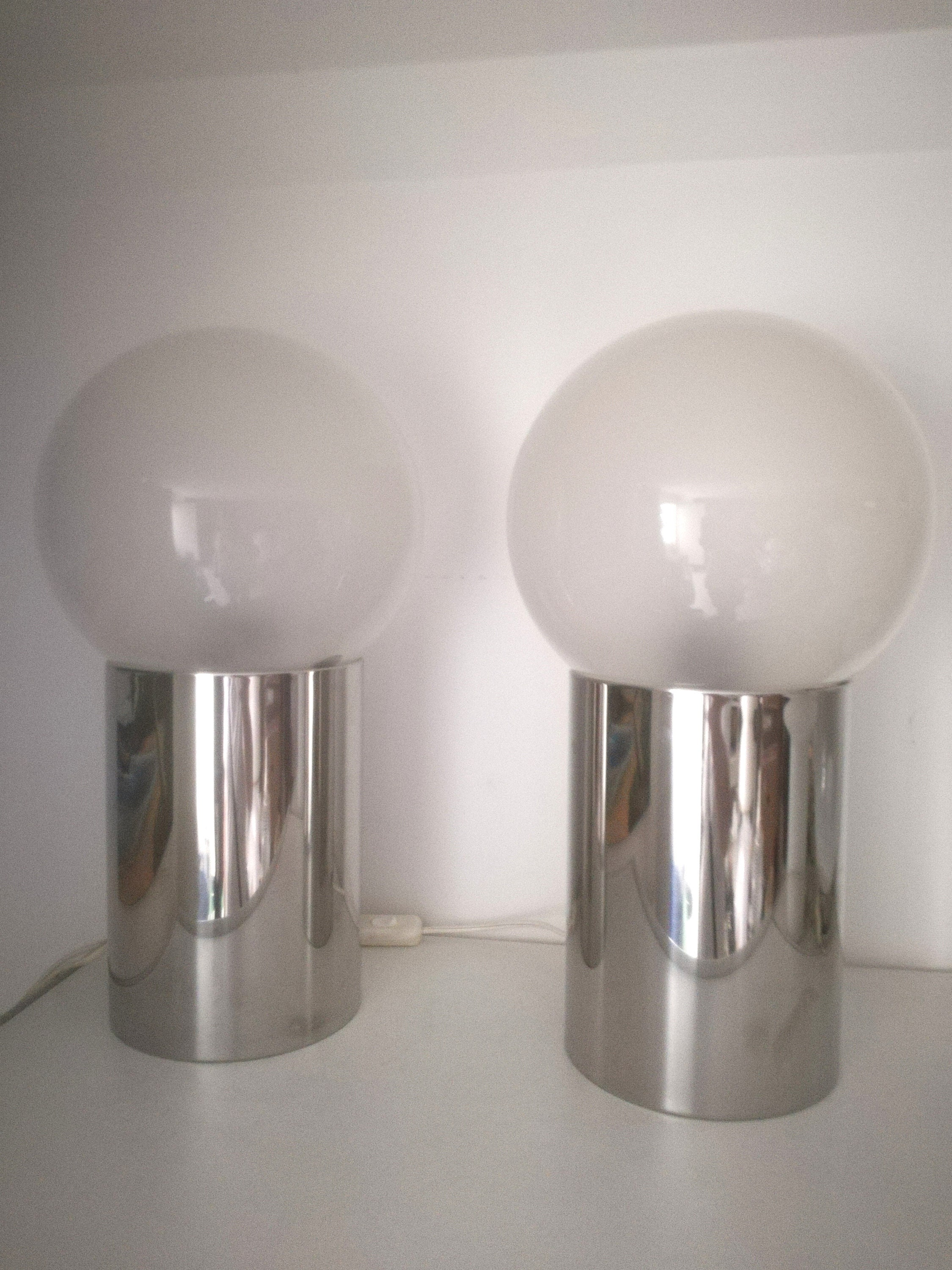 Harvey Guzzini Table Lamp Pair 4004 With Label Chrome Glass