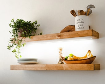 Floating Shelf with LED Lights, Kitchen Shelving, FREE Shipping, Recessed Light Strip, Wood Shelves, Rustic / Farmhouse , Any Size, 12V DC
