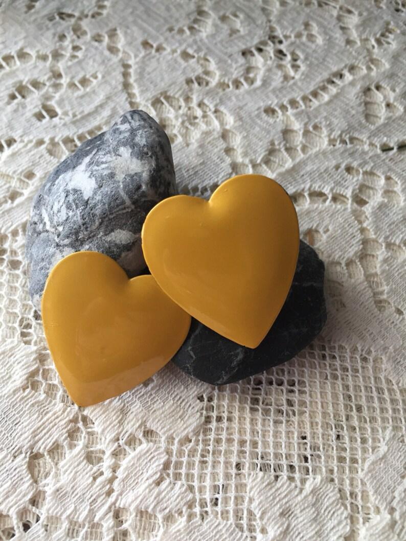 Yellow Heart Clip-on Earrings vintage earrings