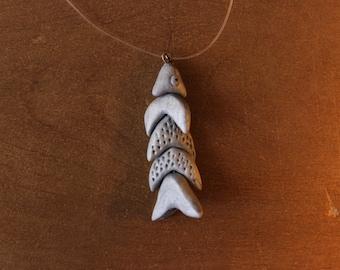 Silver fish pendant Chevron - Chevron Fish Silver Pendant