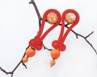 Orange earrings Bright jewelry Soutache earrings Sparkle Tangerine jewelry Glitter earrings Post earrings Orange jewelry gift for her