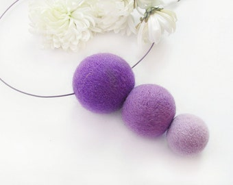 Ombre necklace Felted necklace Bridesmaid gift Wool bead necklace Art minimalist necklace Eco friendly Modern jewelry Boho felt jewelry