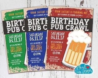 Guy Birthday Invitation Bar Crawl Pub PRINTABLE Beer 21st 30th 40th Party