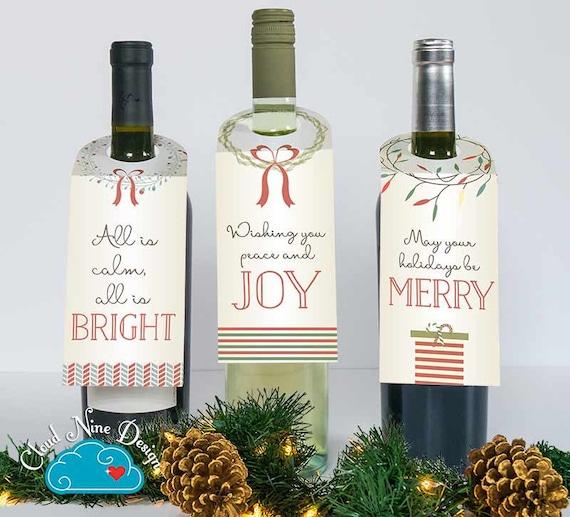 Christmas Wine.Holiday Wine Tags Holiday Wine Labels Christmas Wine Tag Set Of 3 Wine Bottle Tag Happy Holidays Wine Gift Printable Diy