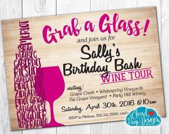 Birthday Invitation, Birthday Wine Tasting, Wine Tour, PRINTABLE invitation, 21st Birthday, 30th Birthday, 40th Birthday Party