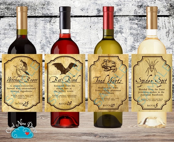 Halloween Vintage Wine Labels Apothecary Labels Set Of 4 Etsy