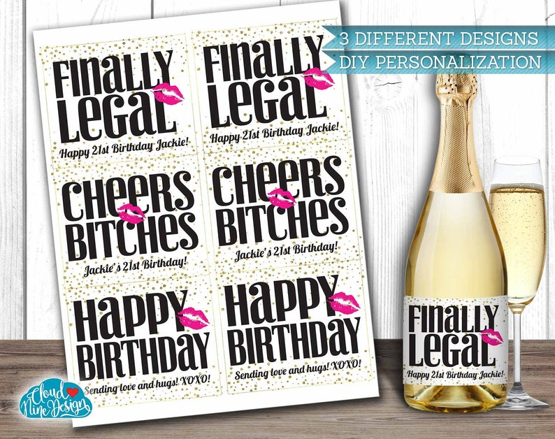 21st Birthday Labels Happy Personalized Wine