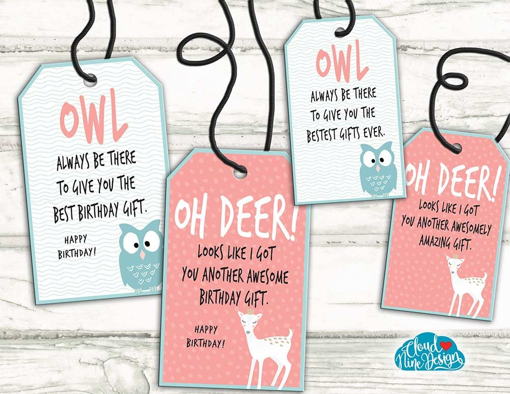 Gift Tags Birthday Set Of 4 Funny