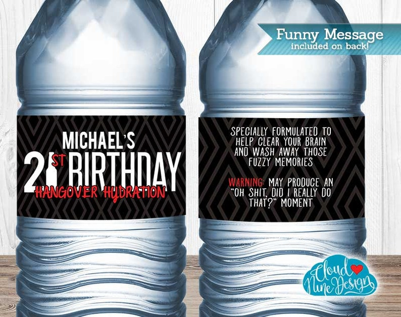 21st Birthday Water Bottle Labels Guys Beer