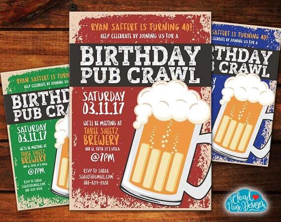 Birthday Pub Crawl Invitation Bar Crawl Printable Etsy