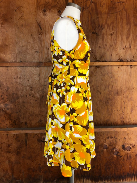 Vintage 70s Bright Yellow Floral A-Line Dress - image 7