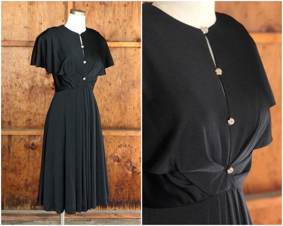 Vintage 70s Glam Flutter Sleeve Black Disco Dress