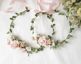 707e87bbf Baby blush Flower crown Blush pink girl crown Mommy and Me Flower crowns  Newborn blush crown Child blush floral crown Blush pink flower girl