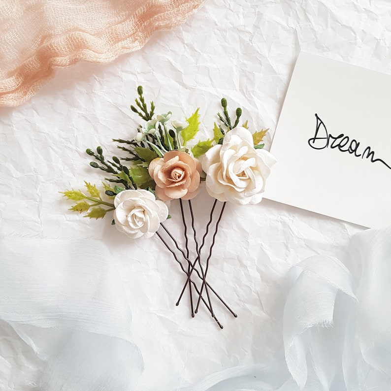 Bridal blush headpiece Wedding blush hair pin Boho blush bridal headpiece Blush flower hair pin Blush headpiece Bridal Blush flower pins