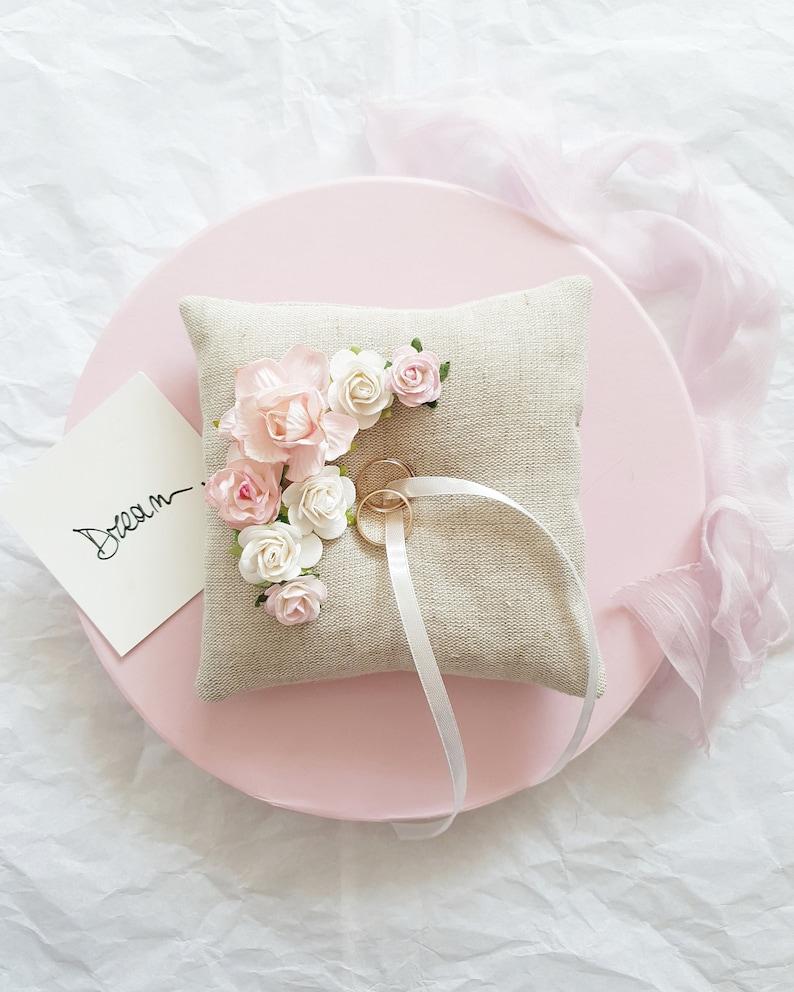 Ring holder Ring bearer pillow Blush Wedding ring pillow Blush Ring pillow with flowers