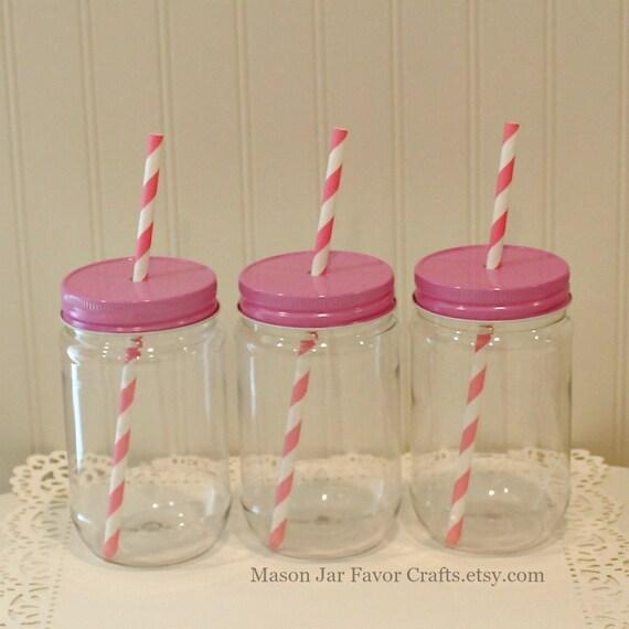 Plastic Mason Jars 10 Plastic Mason Jars With Straw Hole Lid Etsy