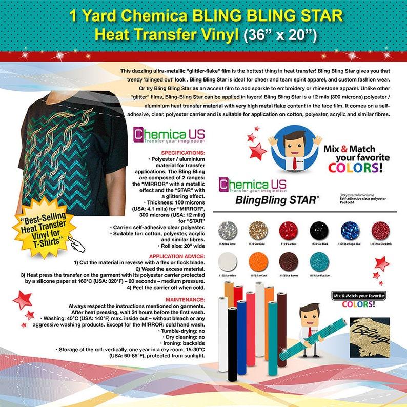 a6c5f2259b 1 Yard Chemica BLING BLING STAR Heat Transfer Vinyl (36