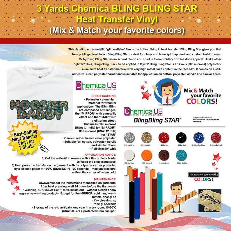 da133dd7b7 3 Yards Chemica BLING BLING STAR Heat Transfer Vinyl (Mix & Match your  favorite colors) ***Free Shipping***