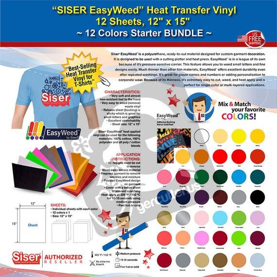 "4 SISER EasyWeed Tshirt Heat Transfer Vinyl HTV,12/"" x15/"" 12-Color Starter BUNDLE"