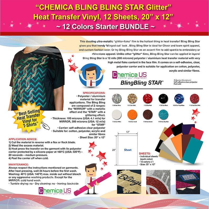2d517217b2 CHEMICA BLING BLING Star Glitter Heat Transfer Vinyl, 12 Sheets, 20