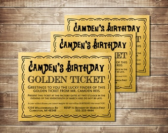 Willy Wonka Golden Ticket Invitation Chocolate Wrapper