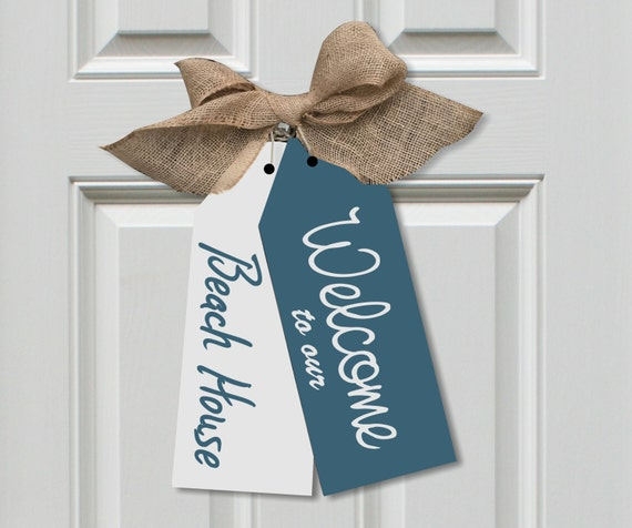 Welcome To Our Beach House Large Wood Door Tags Front Door Etsy