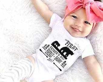 SOLD OUT - First Father's Day Gift, Bear First Father's Day Onesie®, Bear Onesie®, First Father's Day Custom Onesie®, Rustic Father's Day