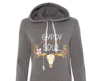 Boho Long Hoodie, Gypsy Soul Long hoodie, Boho Gypsy Hoodie, Boho Long Sweatshirt, Boho Skull Hoodie, Gray hoodie, Long Hoodie