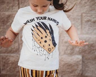 Lucky Charm Kids tee  Girl/'s gift  Greek charm t-shirt  Evil eye kids tee  Red Bandana girl  Greek kid/'s tee From Greece  girls tee