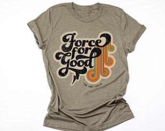 FORCE FOR GOOD feminist tee, girl power unisex tee,, Girl Power, lightning tee, retro tee, rainbow tee, rainbow retro shirt