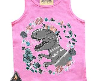 Boho Rex T-Rex Girl Dinosaur tank, girl t-rex, dinosaur theme, girl dinosaur tank, pink girls tank, dinosaur shirt, dinosaur theme