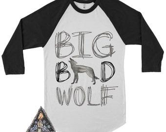 BIG BAD WOLF Kids Raglan / Little Wolf / Wolf kids tee / tribal wilderness kids tee / boho arrows kids clothes