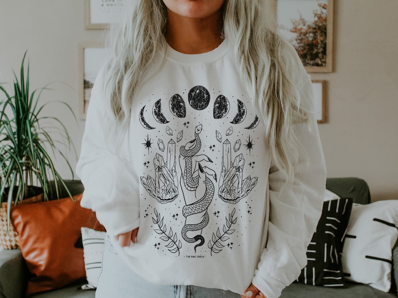 Moon Phase snake Pullover crystals moon phases crewneck pullover moon phase pullover Mystical moon snake crystals crewneck pullover