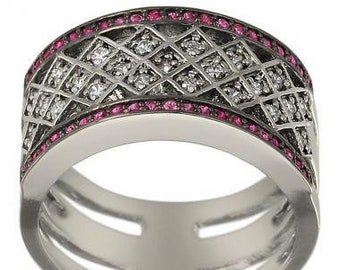 Diamond Wedding Band Vintage Ring Diamonds And Pink Sapphires In 14k White Gold
