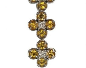 Sapphire Necklace Yellow Sapphires Diamond Pendant White Gold Necklace In 14K White Gold