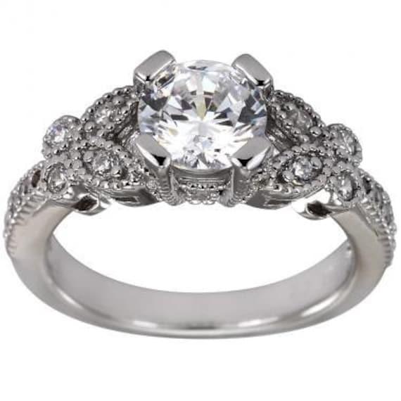 Vintage Style Engagement Ring, 1 Carat Diamond, Art Deco Ring, Classic  Engagement Rings, Antique Ring, Solid 14K White Gold, Milgrain Ring