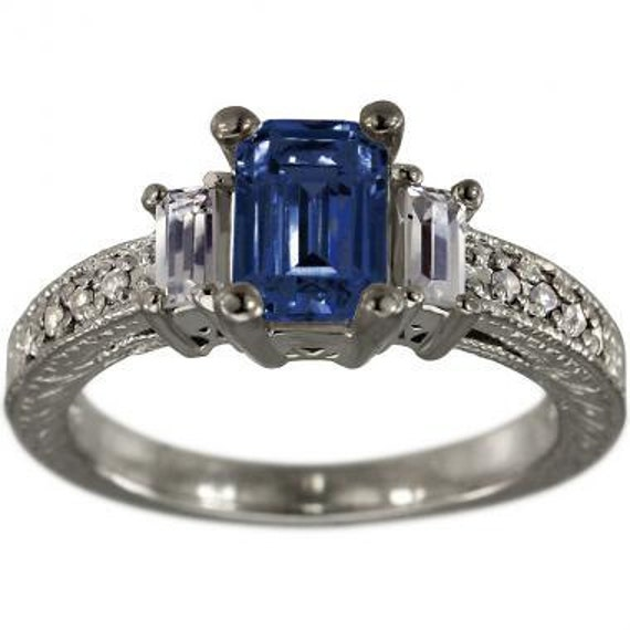 5d2801a9b462 Blue Sapphire Engagement Ring Art Deco Ring Diamonds