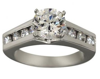 Diamond Engagement Ring 0.75 Carat Diamond With 14k White Gold Channel Diamonds